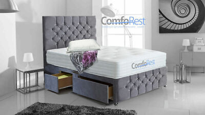 """CHESTERFILED CONTI SOFT VELVET DIVAN BED ibex plus extra  + 54"""" height Headboard"""