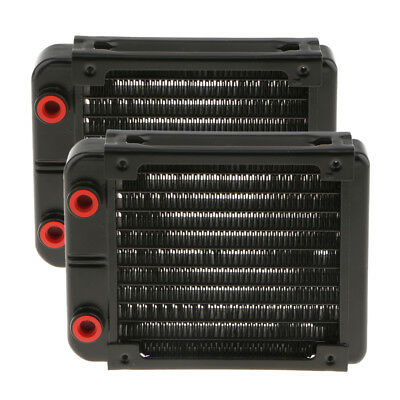 2x Aluminum Heat Exchanger PC CPU Radiator Water Cooling System 10Pipe 120mm