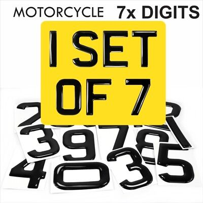 3d Gel MOTORCYCLE Bike Number Plate Domed Resin Making REG DIGITS PACK SET OF 7x