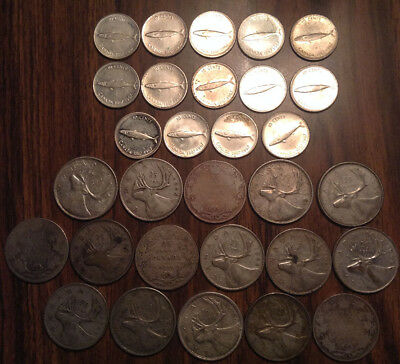 Big Lot Of Silver Canada 25 Cents And 10 Cents Quarters And Dimes 30 Coins Total