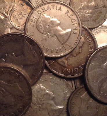 Big Lot Of Silver Canada 25/10 Cents + 1 Nfld 5 Cents 28 Coins Total