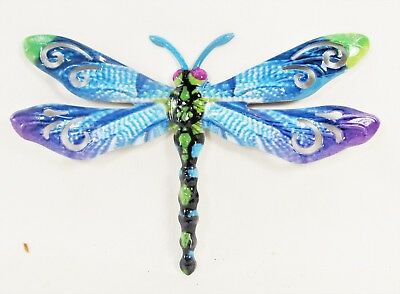 Dragon Fly Hand Painted Metal Wall Plaque Home Decor (A)