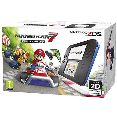 Nintendo 2DS Handheld Console With Mariokart 7 Black & Blue Wi-Fi Touchscreen