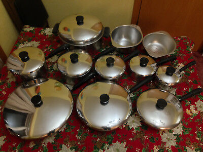 Pre '68 Revere Ware 20 Piece Stainless Steel Copper Bottom Cookware-Riverside CA