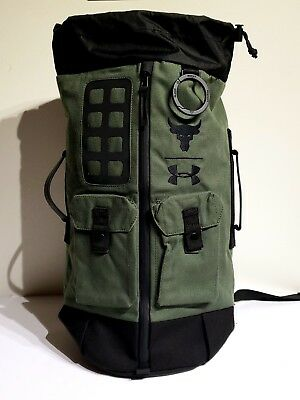 8bc893cc896e UA X Under Armour Project The Rock DJ 60 Green Duffel Bag Backpack NWOT