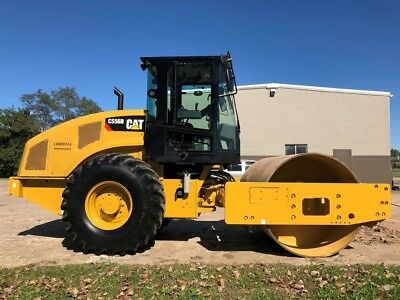 2015 Caterpillar CS56B Vibratory Compactor Roller Cab AC Cat Smooth Drum Riding