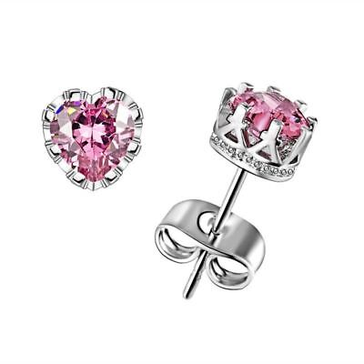 Nice New White Gold Silver Plated Pink Heart Crystal CZ Crown Set Stud Earrings