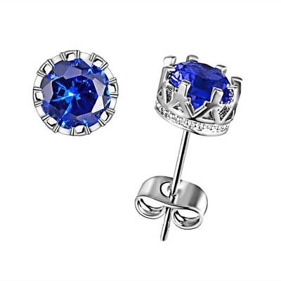 Nice New White Gold Silver Plated Round Crown Set Iolite Blue CZ Stud Earrings