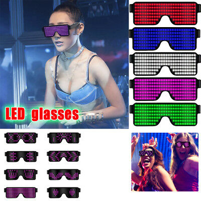 LED Glasses Light Up Glow Flashing Sunglasses Eyewear Nightclub Party 4 Function