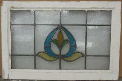 "MID SIZED OLD ENGLISH LEADED STAINED GLASS WINDOW Gorgeous Floral 27.5"" x 18.25"""