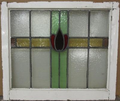 "MID SIZED OLD ENGLISH LEADED STAINED GLASS WINDOW Colorful Band 24.75"" x 21"""