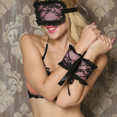 Women Adult Sexy Lace Eye Mask Blindfold & Handcuffs Bracelet Game Sex Toys
