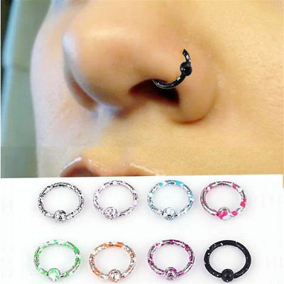 8Pcs/Lots Seamless Hinged Segment Sleeper Ring Hoop Ear Lip Nose Septum Piercing