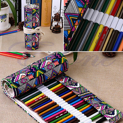 Utility Roll Up Canvas Paint Brush Storage Case Bag For Watercolor Oil Pen New