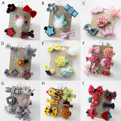 Kids Infant Hairpin Baby Girl Hair Clip Bow Flower Mini Barrettes Star 5Pcs/set