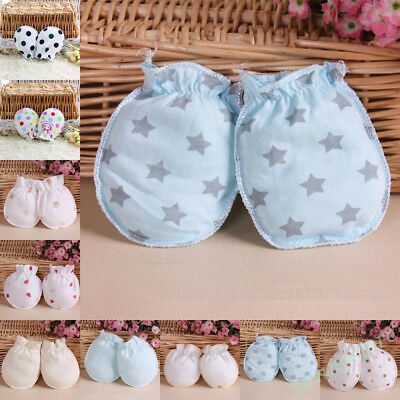 2 Pairs Newborn Cotton Mittens Handguard Cute Baby Infant Anti Scratch Gloves