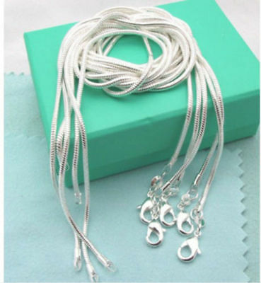 Lots 5PCS wholesale 925 sterling solid Silver 1mm snake chain Necklace 16-30inch