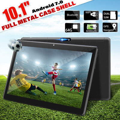 10.1'' Tablet 4GB + 64GB Android 7.0 PC Octa 8 Core HD WIFI Bluetooth Dual SIM
