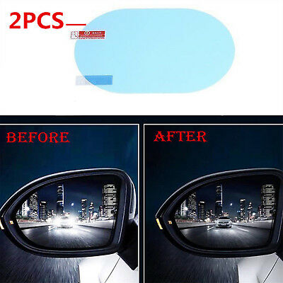 2x Oval Car Auto Anti Fog Rainproof Rearview Mirror Protective Film Accessory US
