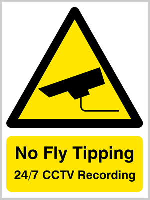 No fly tipping 24/7 cctv sign