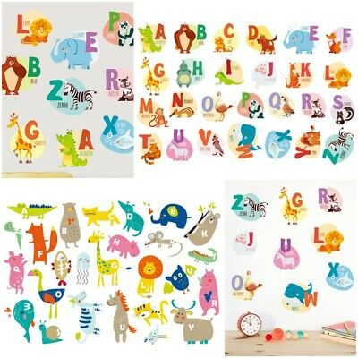 Early Childhood Education Letters English Animal Wall Stickers Kid Decal Art DIY