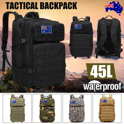 45L Military Tactical Backpack Molle Rucksacks Camping Hiking Trekking Bag AU