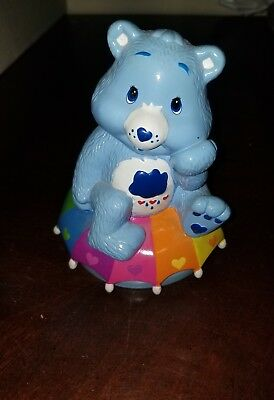 Care Bears Blue Grumpy Bear on Rainbow Umbrella Ceramic Coin Bank