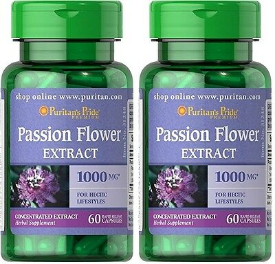 2X Passion Flower 1000 mg x  60 ( 120 ) Capsules  - 24 HR DISPATCH