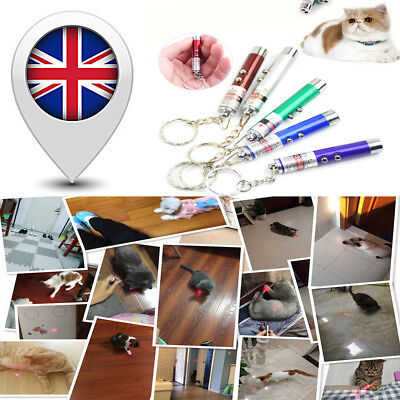 NEW Laser Lazer Pen Pointer Keychain Keyring Cat Dog Toy UK SHIP