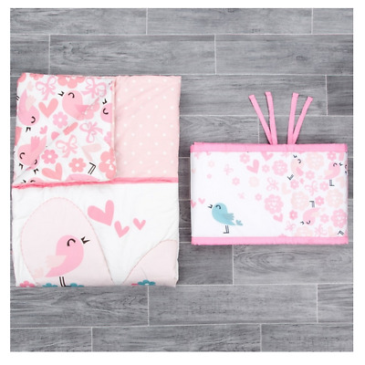 New in box CuddleCo comfi dreams quilt & bumper set in lovebirds fit cot cotbed