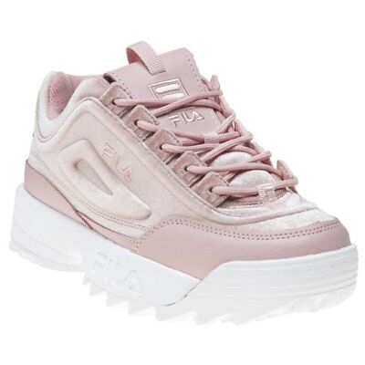 7aef0cf9d77dcf New Womens Fila Pink Disruptor Ii Premium Velour Textile Trainers Chunky  Lace Up