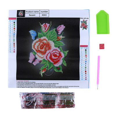 Flowers Butterfly Rose Crystal Cross Stitch Set Embroidery Kit Decoration Gift 6