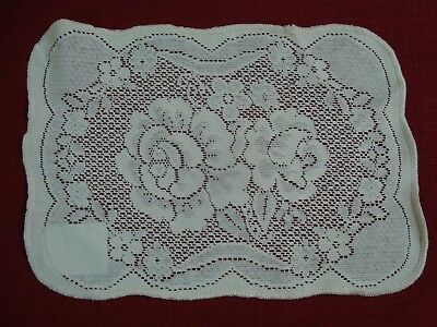 """NEW 2 pc LACE CROCHET ROSES PLACE MATS DOILY Cotton Scalloped Natural 10"""" x 14"""""""