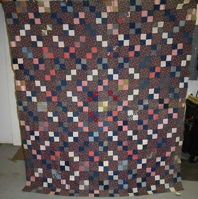 Antique Early 1880's Quilt Top, Four Patch Unfinished Quilt #18447