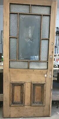Large Cut Glass Victorian Front Door Reclaimed Old Period Antique Wood Wooden.
