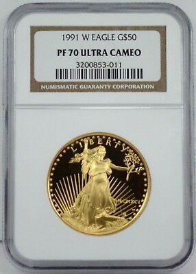 1991 W $50 1 oz Gold Eagle Proof Coin PF70 Ultra Cameo. LOW POP of 1,085. @LOOK@