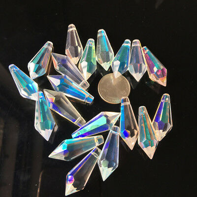 10X Iridescent Icicle Chandelier Crystals Lamp Prisms Parts Hanging Drops 38mm