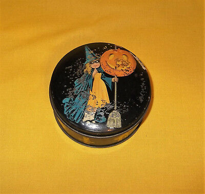 Antique Tindeco Halloween Witch Candy Tin Box