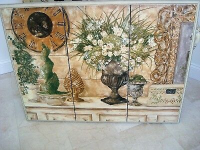 Gorgeous Large French Country Picture With Urns Topiaries Spiral Trees *awesome*