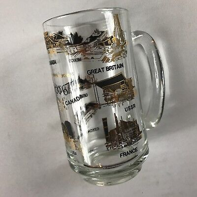 Expo 1967 Glass Sten VTG Cup Montreal Canada France USA England USSR Germany 60s