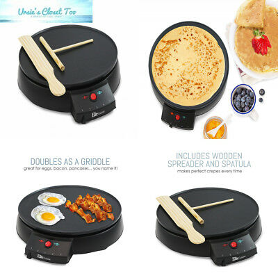 Elite Cuisine ECP-126 Electric Crepe Maker and Non-stick Griddle with...