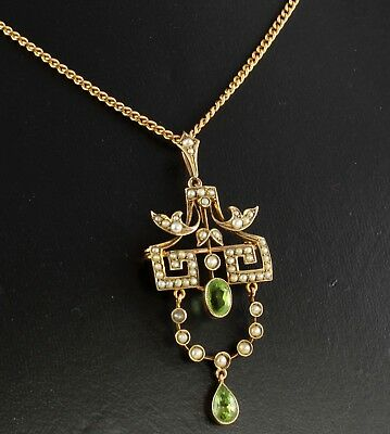 Antique Edwardian 9Ct Gold Pendant Peridot & Pearls on 9Ct Chain / Necklace