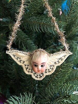 Antique Victorian French Or German Bisque Angel Doll Head Ornament Beautiful!!!