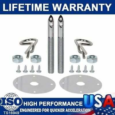 1016 Stainless Steel Chrome Mount Hood Pin Pins Plate Lock Clip Kit Universal US