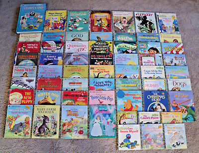 Lot of 59 Little Golden Books Disney Christmas Sesame Street Richard Scarry VTG