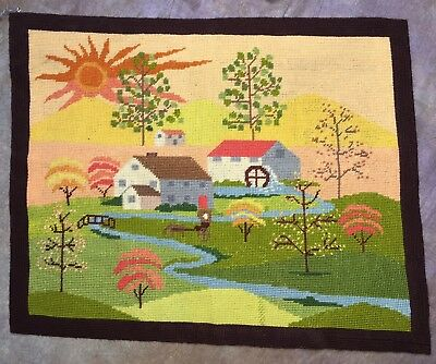 """SCA - Completed Needlepoint country scene stream houses trees colorful 19""""x15.5"""