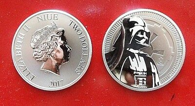 25 oz. 2017 New Zealand Star Wars Darth Vader 1 oz.999 Silver $2 Coins Full Tube