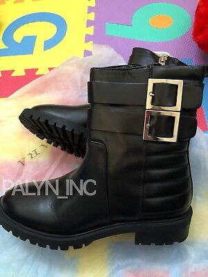 81a3be5e077 ONLY ONE_NWT $159 Zara Black Flat Leather Biker Ankle Boots _Us9/eur40