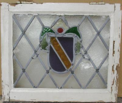 "OLD ENGLISH LEADED STAINED GLASS WINDOW Colorful Diamond Lead Shield 20"" x 16.5"""