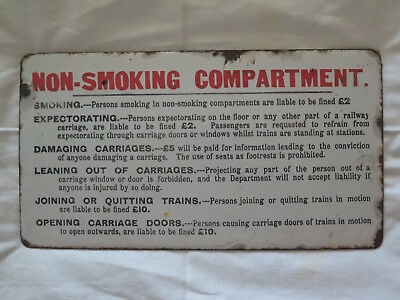 SAR SOUTH AUSTRALIAN RAILWAYS NON SMOKING COMPARTMENT 1910s ORIGINAL ENAMEL SIGN